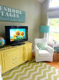 living room with diy chalk paint media console and diy reclaimed