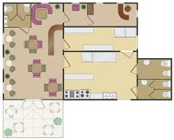draw kitchen floor plan cafe and restaurant floor plan solution conceptdraw com