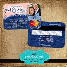 Photo Card Invites Denim Blush Wedding Invitations Credit Card Invites Elegant