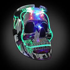mardi gras skull mask light up silver skull mask
