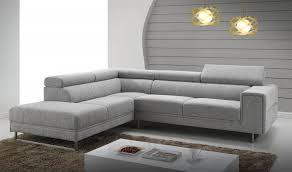 canapé design d angle canapé d angle en tissu gris chiné design avec appui tête relevable