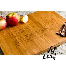 cutting board with recipe engraved custom handwriting personalized cutting board recipe kitchen decor