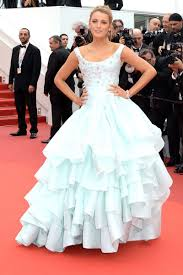 blake lively baby blue tiered ruffled ball gown celebrity prom