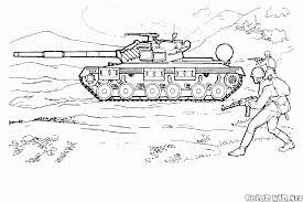 coloring page soviet tank on maneuvers