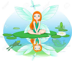 little cute fairy observes for flying butterfly on water lily