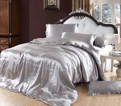 silver duvet cover bedding sets grey silk satin king size