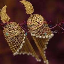 danglers earrings design j7317 big size antique colour rajwadi jhumka earrings pearl chain