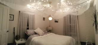 fairy lights on ceiling of bedroom christmas string lights