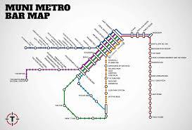 Bart San Francisco Map Stations Thrillist Map Of Bars Near Muni Metro Stops