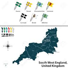 Map Of Cornwall England by Map Of South West England United Kingdom With Regions And Flags