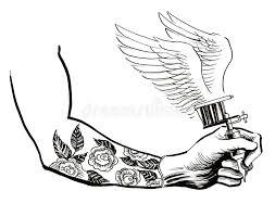 tattoo gun sketch hand with a tattoo machine stock illustration illustration of