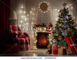 christmas room interior design xmas tree stock photo 228925420
