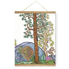pink tree family landscape mountains decoration wall picture