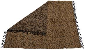 60x50 u201d hand woven throw blanket in velvet u0026 cotton with leopard