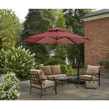 shop garden treasures round red offset patio umbrella with crank