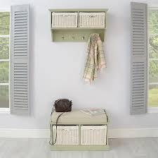 hallway coat rack and 2 basket bench set sage green