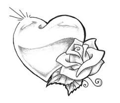rose and heart tattoo design
