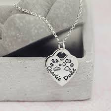 tiffany and co ls large tiffany style paw print necklace hand on heart jewellery