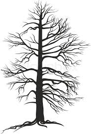 vector black tree with roots on white background stock vector