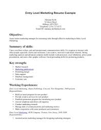 resume objective sample marketing entry level good for fop peppapp