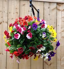 artificial hanging basket medium multi coloured pansies