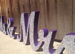 Mr And Mrs Sign For Wedding With Silver Glitter Wedding Sign Spelling Mr And Mrs
