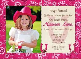 pink cowgirl photo birthday invitation lil country party