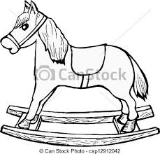 eps vector of rocking horse hand drawn cartoon vector