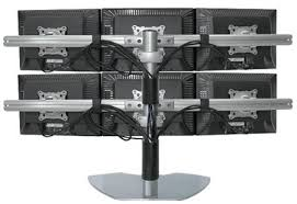 stand up desk multiple monitors six lcd multiple monitor stand use up to 20 lcds