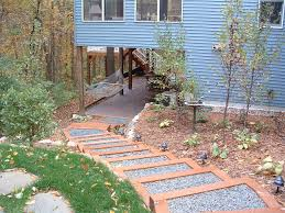 building a timber framed step system and boulder wall grove