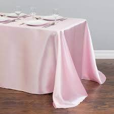 90 x 156 table x 156 in rectangular satin tablecloth pink