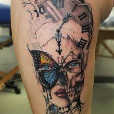 skull and clock meaning images