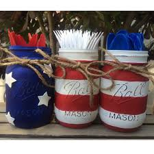 How To Paint American Flag American Flag Painted Mason Jars Red White And Blue