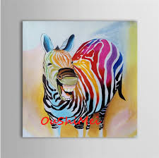 hand painted modern colours zebra picture funny animals oil