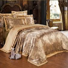 Gold Bedding Sets Gold Jacquard Silk Comforter Duvet Cover King 4pcs Luxury