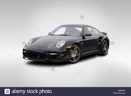 porsche 911 front 2007 porsche 911 turbo in black front angle view stock photo