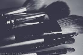 Art For Powder Room Black And White And Pink Makeup Brushes Art Print Makeup Girly