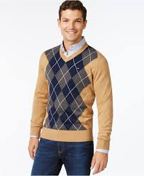 hilfiger sweater mens lyst hilfiger signature argyle v neck sweater in