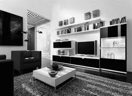 black and white living room with accent color textured area rugs