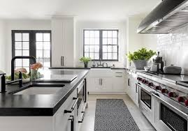 Black Kitchen Rugs Kitchen With Black And White Woven Rug On Gray Wash Wood