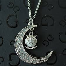 shaped pendant necklace images New design luminous glow in the dark crescent moon owl shaped jpg