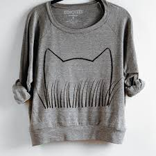 womens cat grass sweatshirt xenotees