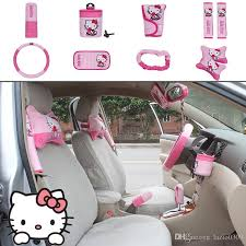 unit auto accessories kitty pink car upholstery steering