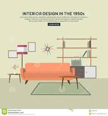 flat retro interior living room stock vector image 70965346