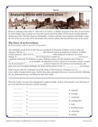 context clues worksheet word mystery context clues worksheets