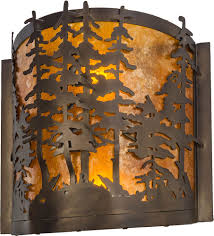 Wall Lighting Sconces Meyda Tiffany 153975 Tall Pines Rustic Antique Copper Amber Mica