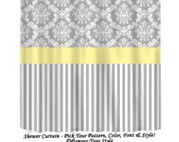 Grey And Yellow Shower Curtains Damask And Stripe Gray And Yellow Shower Curtain Any Color
