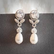 statement bridal earrings swarovski teardrop pearl wedding