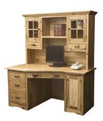 Solid Wood Computer Desk Furniture Unpolished Oak Wood Computer Desk Placed On Light Gray