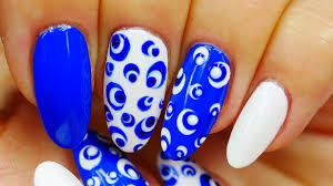 nail art very easy design blue and white points youtube
